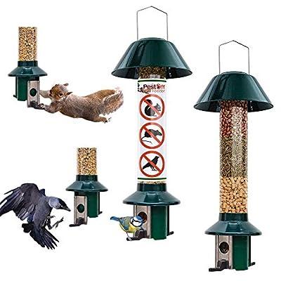 Roamwild Squirrel proof Bird Feeders - 1 x Mixed Seed Bird Feeder & 1 x Peanut/Suet Pellet Bird Feeder - 100% Pest Proof by Roamwild