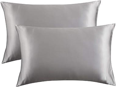 Bedsure Satin Pillowcase for Hair and Skin Queen - Silver Grey Silk Pillowcase 2 Pack 20x30 inches - Satin Pillow Cases Set o