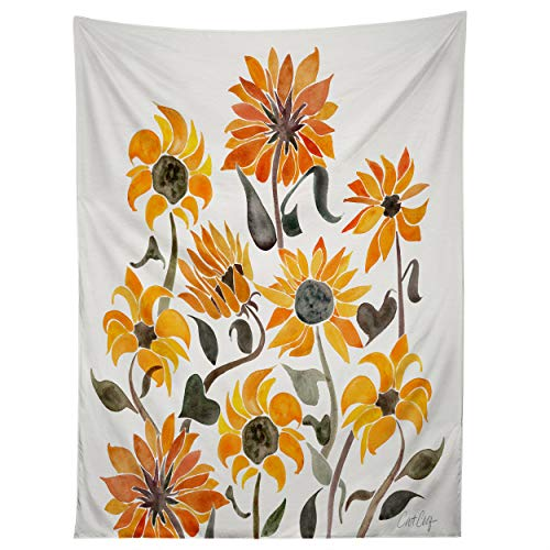 Society6 Cat Coquillette Sunflower Watercolor Yellow Tapestry, 50' x 60'