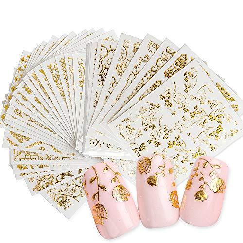 Daimay Nagel Sticker Nagel Aufkleber 20 Blätter Fingernägel Nail Stamping 3D Gold Glitters Nagelsticker für Kinder Mädchen Frauen DIY Anfänger Nagelstudio - Zufälliges Muster