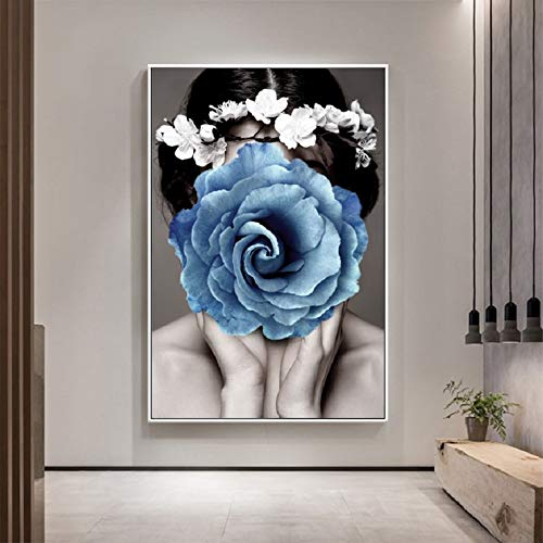 Mubaolei Chica con Flor, Carteles de Belleza a la Moda, Arte de Pared, Pinturas en Lienzo, Cuadros, decoración del hogar 60x80cm