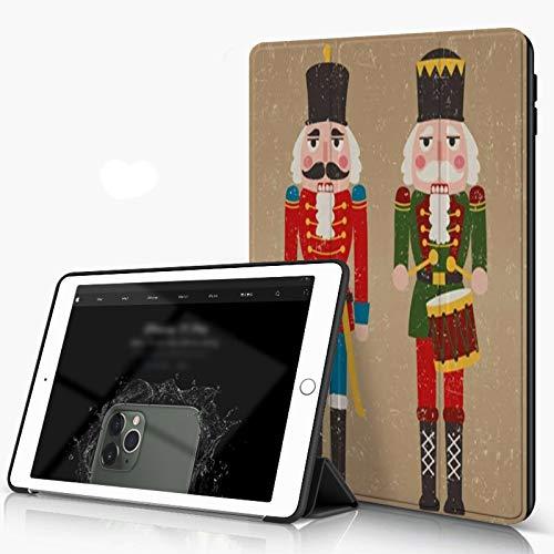 Carcasa para iPad 10.2 Inch, iPad Air 7.ª Generación ,Invierno Navidad Cascanueces de dos colores Vacaciones Retro Vintage Textura Cara Hi,incluye soporte magnético y funda para dormir/despertar