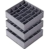 3 Pack Sock Underwear Organizer Dividers, 64 Cell Fabric Foldable Cabinet Closet Organizers and Storage Boxes for Storing Socks, Underwear, Ties (16+24+24 Cell, Gray)