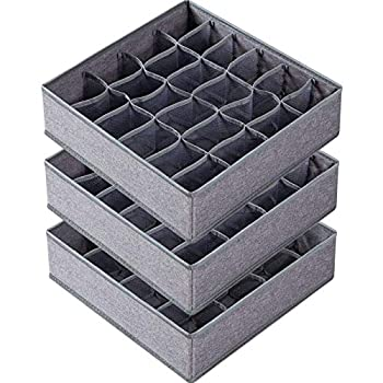 3 Pack Sock Underwear Organizer Dividers 64 Cell Drawer Organizers Fabric Foldable Cabinet Closet Organizers and Storage Boxes for Storing Socks Underwear Ties  16+24+24 Cell Gray