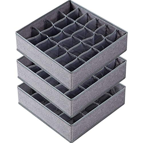 3 Pack Sock Underwear Organizer Dividers 64 Cell Fabric Foldable Cabinet Closet Organizers and Storage Boxes for Storing Socks Underwear Ties 162424 Cell Gray