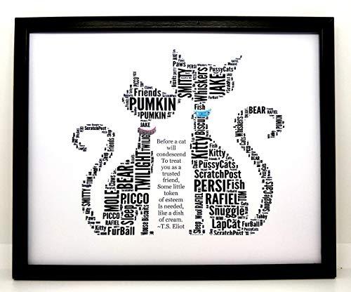 Nuevo arte de la palabra 'What's New Pussycat' personalizado, Navidad, cumpleaños o regalo general. IMPRIMIR SOLAMENTE Se ajusta a un marco de 8