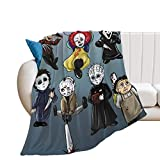 WHXM Blanket Halloween Scary Killer Freddy Jason Michael Chucky Horror Movie Themed Holiday Flannel Blankets Lightweight Comfortable Luxurious Home Decoration, for Sofas, beds, Sofas, Travel CB