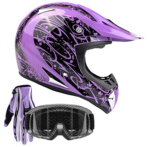 Typhoon Adult ATV Helmet Goggles Gloves Gear Combo Purple Splatter (XL)
