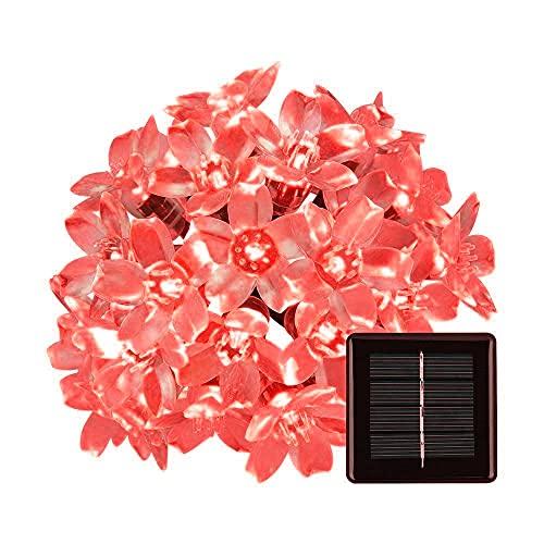 Luces de Cadena Solar, 6m 30LED Flor Solar que Enciende las Luces Solares de la Secuencia de la Flor con la Prenda Impermeable de 8 Modos (Rojo)