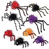 Tomaibaby 8ピースクモぬいぐるみリアル毛深いクモハロウィンパーティー怖い装飾お化け屋敷小道具屋内屋外庭の装飾