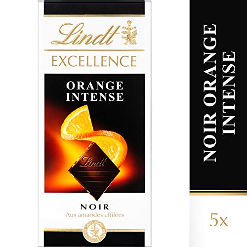 Lindt Excellence Noir Orange Intense - 100 g, Lot de 5