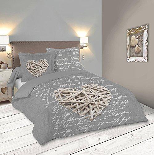 Lovely Casa WOODLOVE Housse DE Couette, UNI, Gris, 260x240 cm