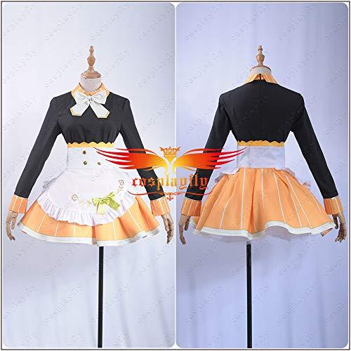 Cosplay Tea Party Unawakened Kousaka Honoka - Disfraz de uniforme de sirena para disfraz de honoka, camisa negra, delantal de color naranja con calcetines, disfraces de anime de novedad y uso especial