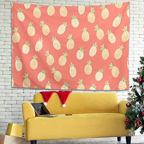 Tapiz de frutas de piña hermoso para colgar en la pared en el dormitorio, mantas de picnic para colgar en la pared, tapiz blanco 59 x 59 pulgadas