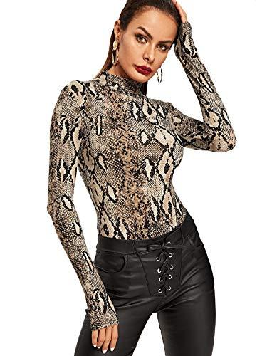 MakeMeChic Women's Pullover Snakeskin Tops Bodysuit Long Sleeves Jumpsuit Multi L