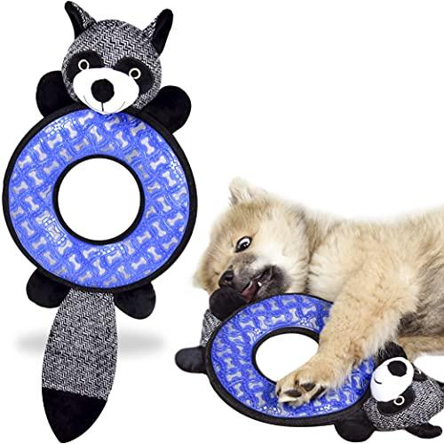 ne&no® Hunde Kuscheltier mit Gummi zum Kauen I Hundespielzeug I Kauspielzeug für Hunde I Quietschspielzeug Hund I Dog Toy I Spielzeug Hund I Hunde Zubehör (Waschbär)