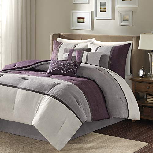 Madison Park Palisades All Season Down Alternative Bedding, Matching Shams, Bedskirt, Decorative Pillows, Queen, Purple 7 Piece
