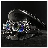 Steampunk Hut Fashion Schwarz Leder Deutschland Offizier Visier Cap Army Hat Gear Brille Militär Hut Cosplay Hut Polizei Cap Größe M L XXL Top Hat, Leder, Schwarz, 59 cm