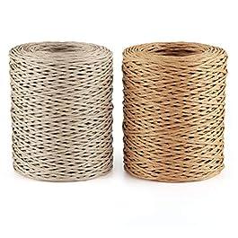ilauke Fil de Papier 2 x 100m Fer Rotin de Papier Fil Naturel Paper Corde en macramé pour Emballage de Bouquet de noël…