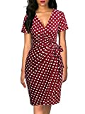 Lyrur Summer V Neck Printed Short Sleeve Bodycon Wrap Dress for Women Work Casual Party Cocktail Dresses (L,9069-Red Dot)