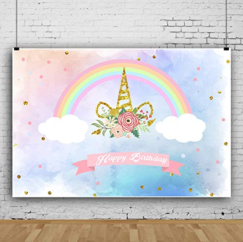 AOFOTO 7x5ft Birthday Party Banner Background Sweet Rainbow Flowers Clouds Cartoon Unicorn Backdrop Kid Baby Infant Newborn Child Girl Artistic Portrait Photoshoot Studio Props Video Drape Wallpaper