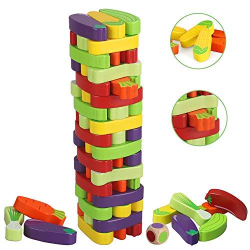 BeebeeRun Wackelturm Spielzeug für Mädchen Jungs und Erwachsene,Brettspiele,Gemüse,Kinderspiel ab 3 Jahre mehr