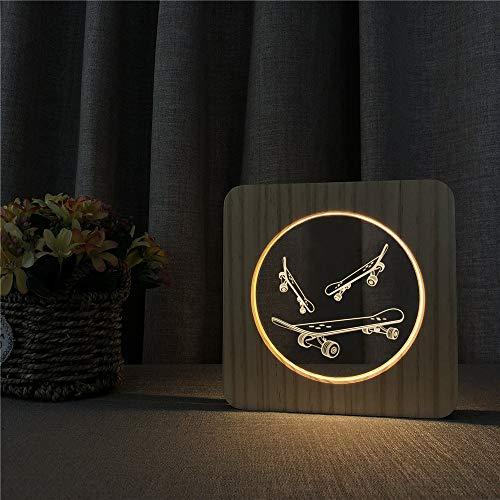vhidfsjgdsfik Skateboard 3D LED Acrylic Wood Night Light Desktop Control Switch Children's Room Decorative Carved Light