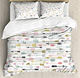 Ambesonne Arrows Duvet Cover Set, Colorful Bohemian Ornament Pattern Aztec Inspired Artwork on Plain Background Image, Decorative 3 Piece Bedding Set with 2 Pillow Shams, Queen Size, Black and White