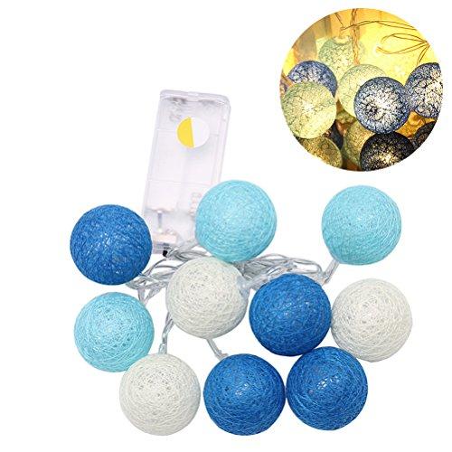 LEDMOMO Lichterkette 1,2 m, 10 LEDs, Baumwollkugeln, Lichterkette für Garten-Party-Dekoration, warmes Weiß und Blau