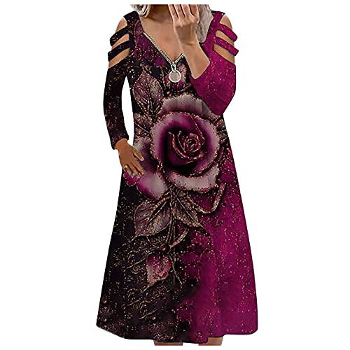 Shopler Vestidos con estampado floral para mujer con cremallera ahuecado hacia fuera vestido de manga larga de talla grande casual vintage vestido midi, Morado (, XL