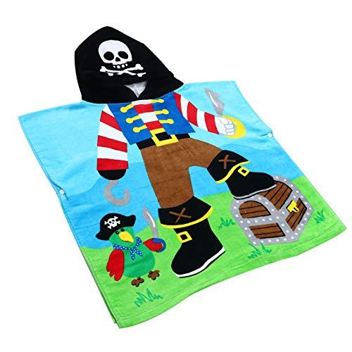 BESPORTBLE Capitán Pirata con Capucha Toalla de Baño de Playa para Niños Albornoz de Algodón Transpirable Piscina Poncho con Capucha para Niños Ropa de Cama de Regalo para Niños