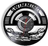 GVSPMOND Disco de Vinilo Reloj de Pared natación Deportes Reloj...