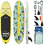 Ciays Inflatable Stand Up Paddle Board W SUP Accessories of Backpack, 2 Fins, 2 Bags, Leash, Floating Paddles and Double Action Hand Pump All-Around Paddleboard Perfect for Yoga, Tour, Fishing, Yellow