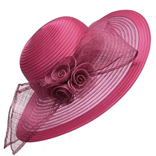 Sombrero de ala ancha de Lawliet para mujer, formal, para bodas, iglesia, el derby de Kentucky, el Royal Ascot Rojo granate Talla única