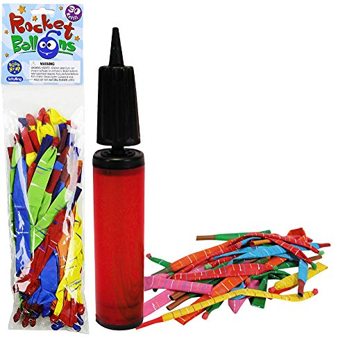 Schylling Rocket Balloons with Pump & Refill Pack Gift Set Bundle - 2...