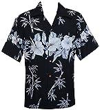 Hawaiian Shirts Mens Beach Aloha Party Holiday Camp Casual Short Sleeve (M, Black)
