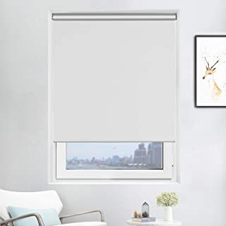 Acholo Blackout Roller Blinds White Shades for Windows, Cordless Spring Roller Shade, 31 inch x 72 inch