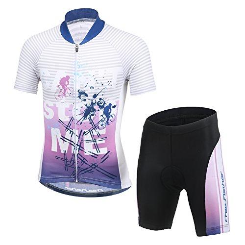 LSHEL Kinder Jungen Fahrradbekleidung Set Mädchen Atmungsaktive Trikot Kurzarm & Radhose mit 3D Sitzpolster MTB Radsportanzug, Lila, 122/128(Herstellergröße: L)