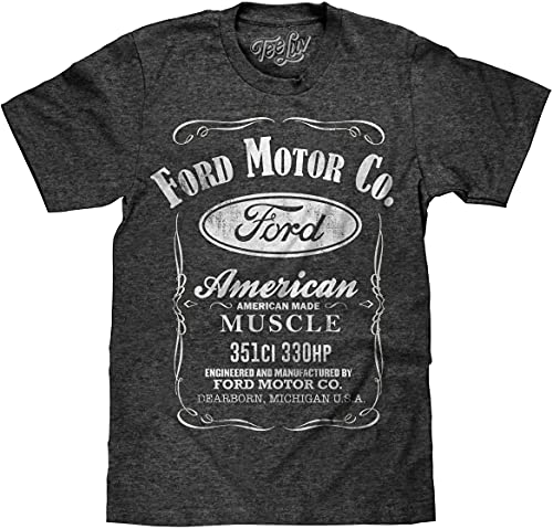 Tee Luv Ford American Made Muscle Shirt - Faded Ford Motor Company Shirt (Onyx...