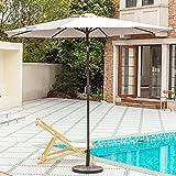 VOUA 9' Patio Umbrella Outdoor Market Umbrella Table Umbrellas with 8 Ribs Push Button Tilt and Crank UV Protection Outside Garden Pool Umbrella, Beige