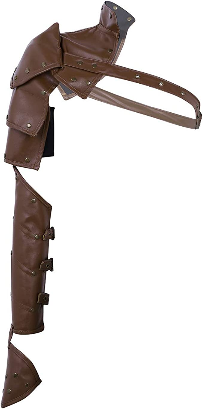 Men's Steampunk Accessories: Googles, Cane, Gloves TiaoBug Mens Steampunk PU Body Chest Harness Shoulder Guard Armor with Arm Strap Set Costumes  AT vintagedancer.com
