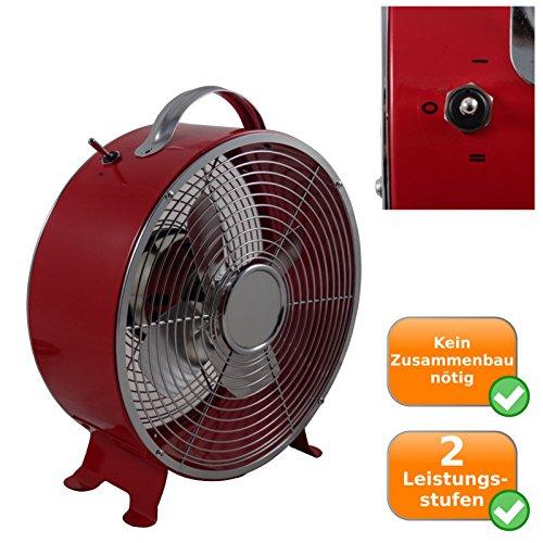 Retro Ventilator mit ca. 26cm Durchmesser, 2 Geschwindigkeitsstufen, 25Watt, Sicherheitsgitter, rot