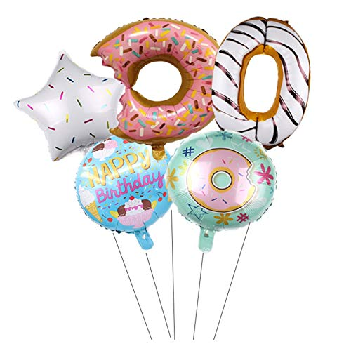 JSJJAES Balloons 5pcs/set Donuts Candy Balloon Set Baby Birthday Party Aluminium Foil 32inch Number Balloons Kids Shower Ages Foil Digital Globos (Color : 5)