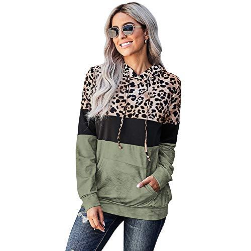 iMixCity Sudadera con Capucha de Patchwork con Estampado de Leopardo para Mujer Sudadera con Capucha de Bloque de Color Informal de Manga Larga con Bolsillos (Ejercito Verde, S)