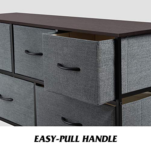 WLIVE Dresser with 5 Drawers, Dressers for Bedroom, Fabric Storage Tower, Hallway, Entryway, Closets, Sturdy Steel Frame, Wood Top, Easy Pull Handle