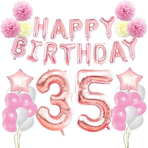 KUNGYO Decoraciones de Feliz Cumpleaños #35 Oro Rosa Happy Birthday Bandera Gigante Número 35 y Estrella de Helio Globos Cintas Flores de Papel Pom Globos de látex Fuentes Partido para Las Mujeres