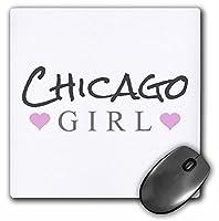 3dRose マウスパッド シカゴガール - ホーム タウン シティ プライド - アメリカ アメリカ テキスト と キュート ガーリー ピンク ハート - 20.32 x 20.32 cm (mp_161832_1)