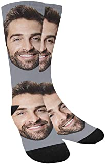 Custom Personalized Photo Pet Face Socks, Yellow Crew Socks with Picture for Men Women