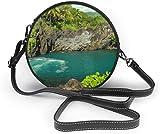 Bolso redondo mujer Women's Summer Round Bag Nature Ocean Sea Hawaii Beach Fashion Crossbody Shoulder Handbag Sling Purse Sling Bag