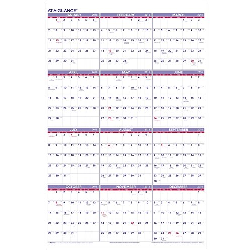 """AT-A-GLANCE Yearly Wall Calendar, January 2018 - December 2018, 24"""" x 36"""" (PM1228)"""